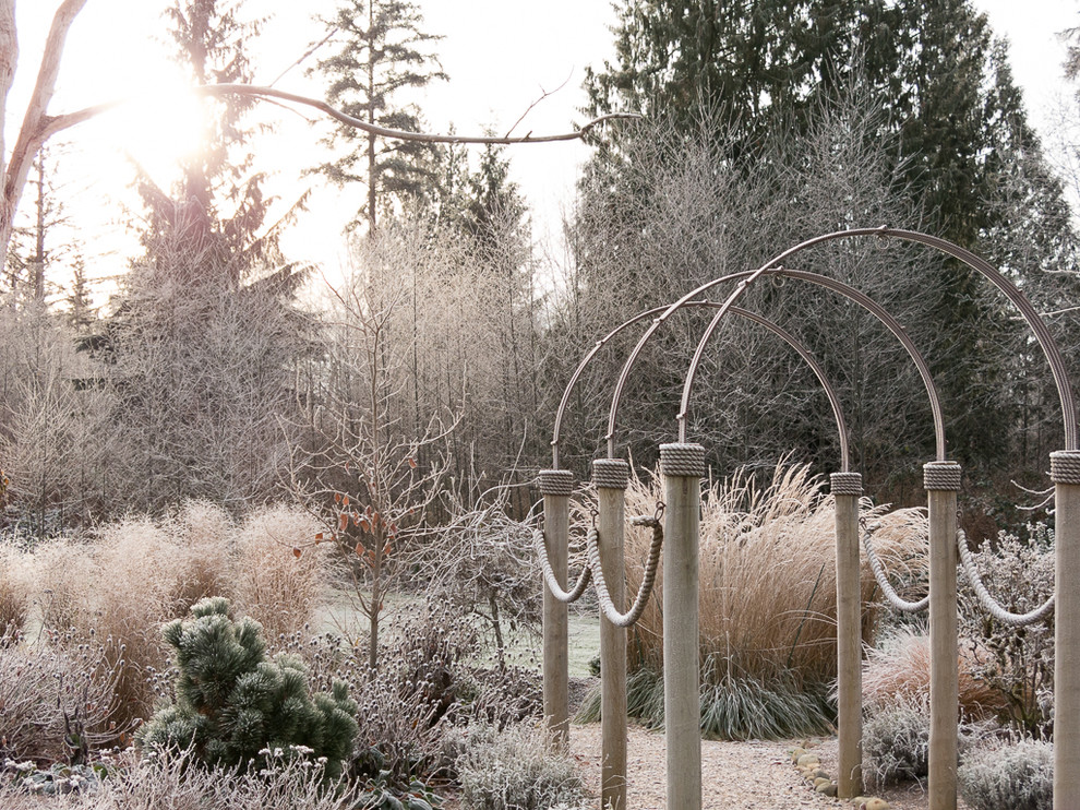 Garden Arbors Spaces with Arbor Frost Grasses Path Winter