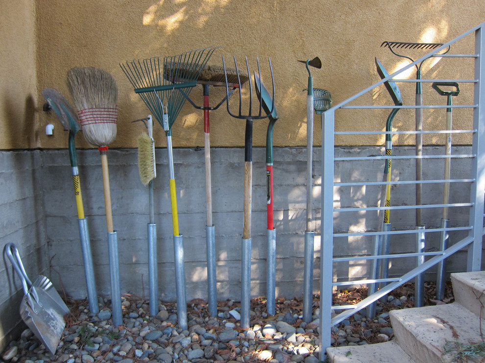 Garden Tool Rack Exterior Eclectic with Cast in Place Concrete Cement Plaster Easy Storage Garden Tools Store Storing Storing Garden