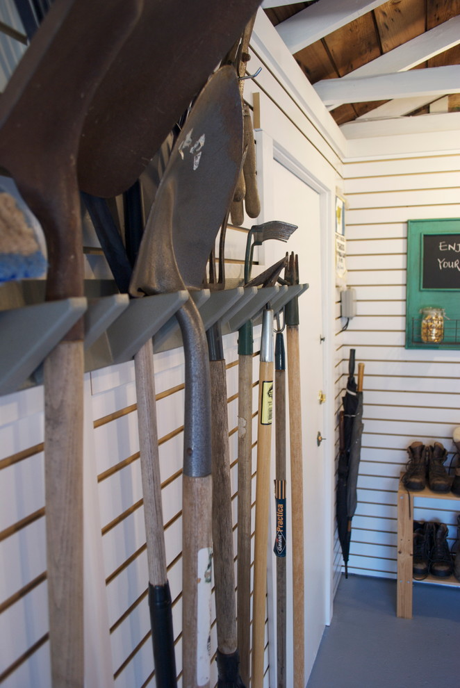 garden tool rack Garage And Shed Eclectic with garage multi-use organization slat-walls storage