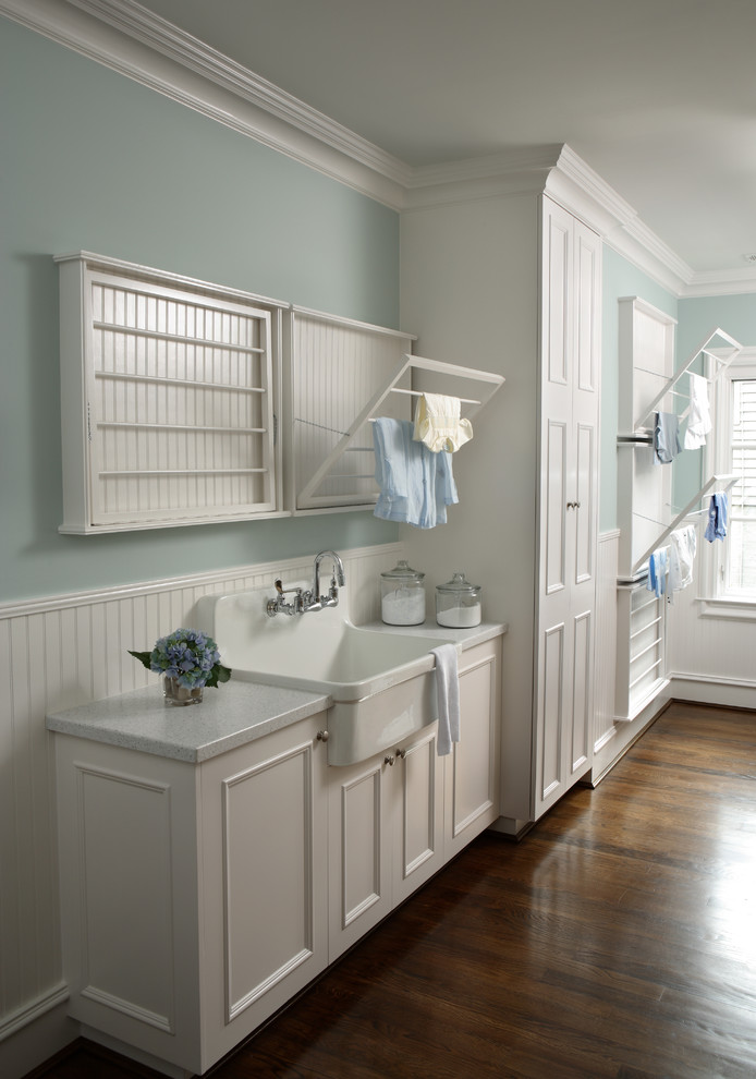 Garden Tool Rack Laundry Room Traditional with Clothes Rack Drying Racks Farmhouse Sink Light Blue Wall White Cabinetry Wood