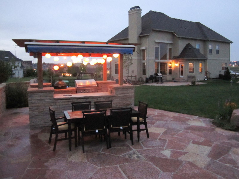 Gas Bbq Grills Landscape Traditional with Back Yard Boulder Buff Sand Stone Colorado Entertaining Flagstone Gas Bbq Grill
