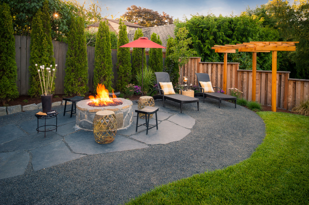 Gas Outdoor Fire Pit Patio Traditional with Arbor Backyard Cedar Fencing Curved Custom Wood Structures Firepits Flagstone Hardscaping Garden