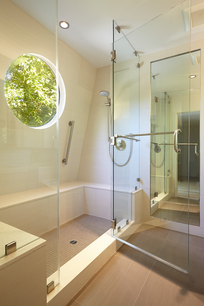 Gatco Bathroom Contemporary with Beige Tile Floor Beige Tile Shower Dark Tile Flooring Floor to Ceiling
