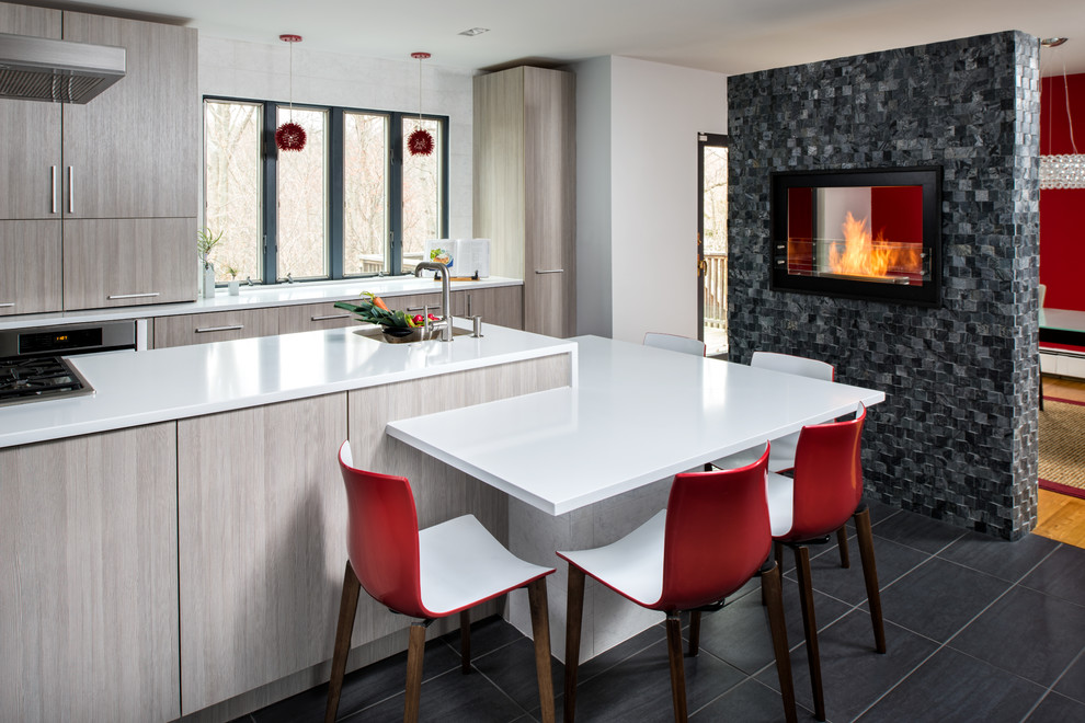 Gel Fireplace Kitchen Contemporary with Clean Lines Fireplace in Kitchen L Shape Counter Pendant Lights Red Accents