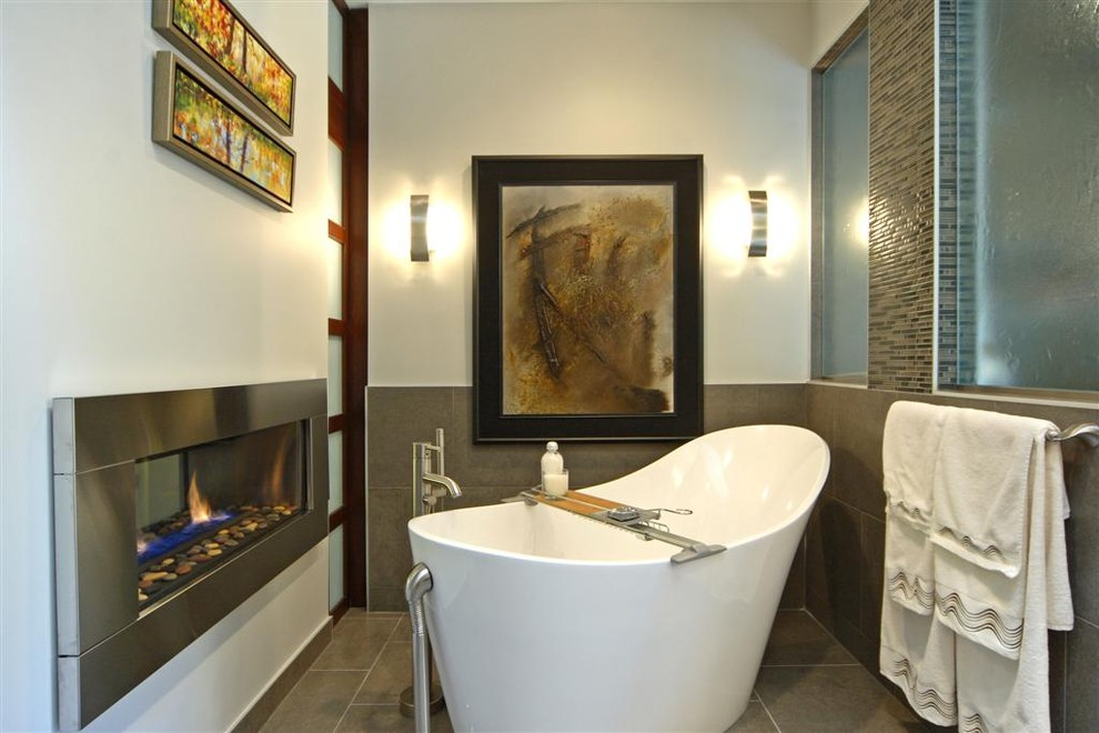 Gel Fuel Fireplace Bathroom Modern with Art Bath Fireplace Freestanding Tub Mosaic Soaker Tub Stone Tile Tiled Floor