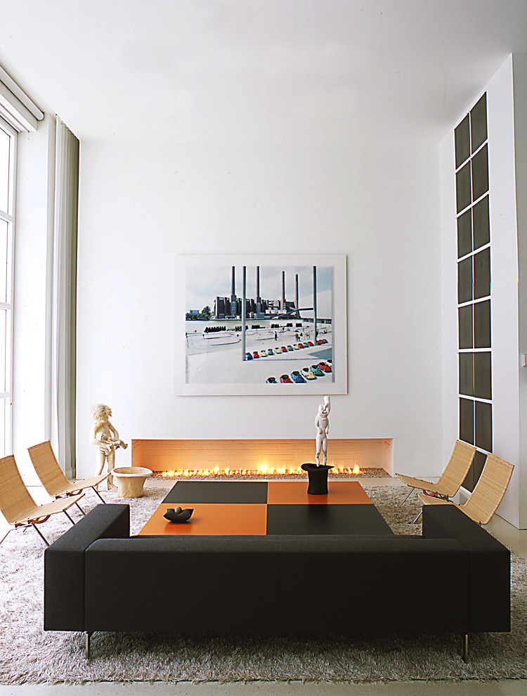 Gel Fuel Fireplace Living Room Contemporary with Beige Area Rug Black and Orange Coffee Table Black Couch Black Sofa
