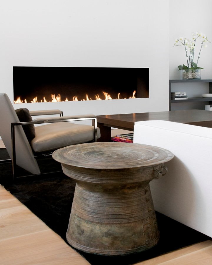 gel fuel fireplace Living Room Contemporary with none