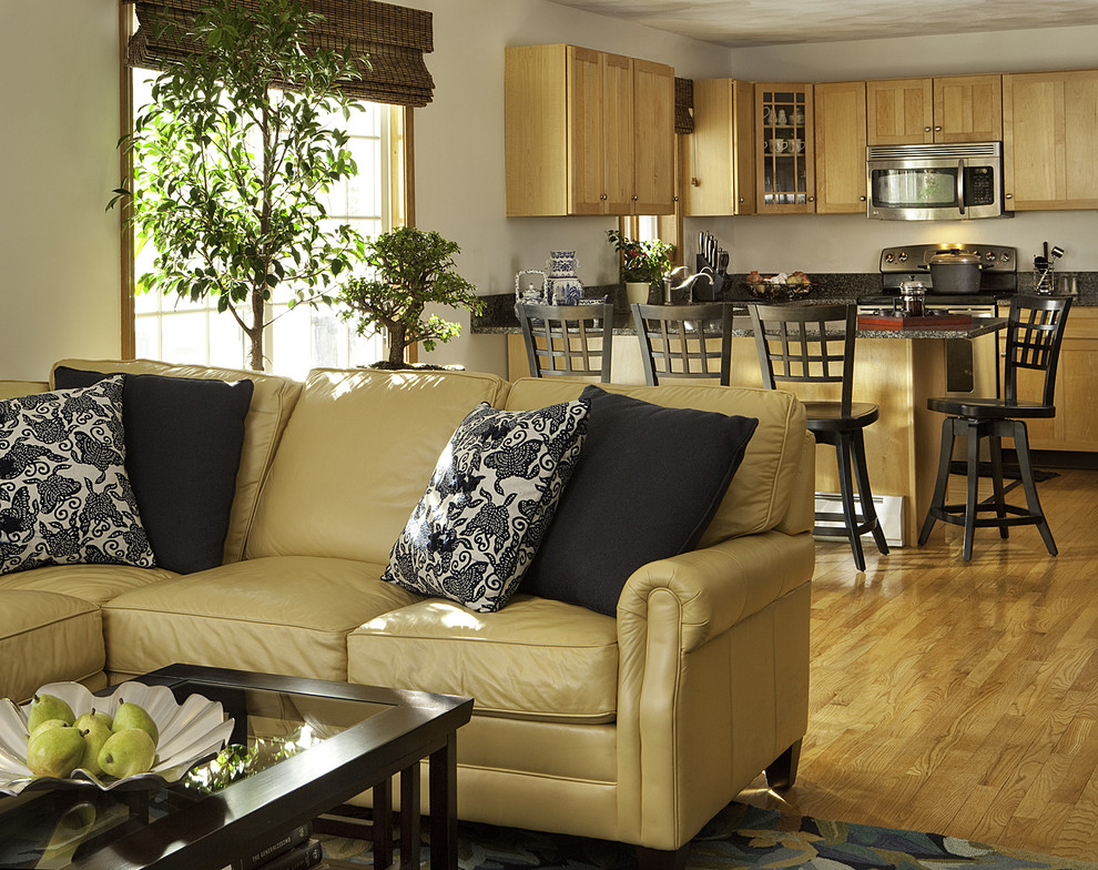 Genuine Leather Sofa Living Room Contemporary with Decorative Pillows Eat in Kitchen Great Room House Plants Kitchen Peninsula Leather