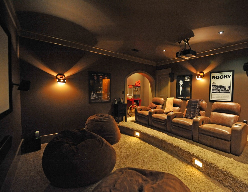 giant bean bags Home Theater Rustic with none