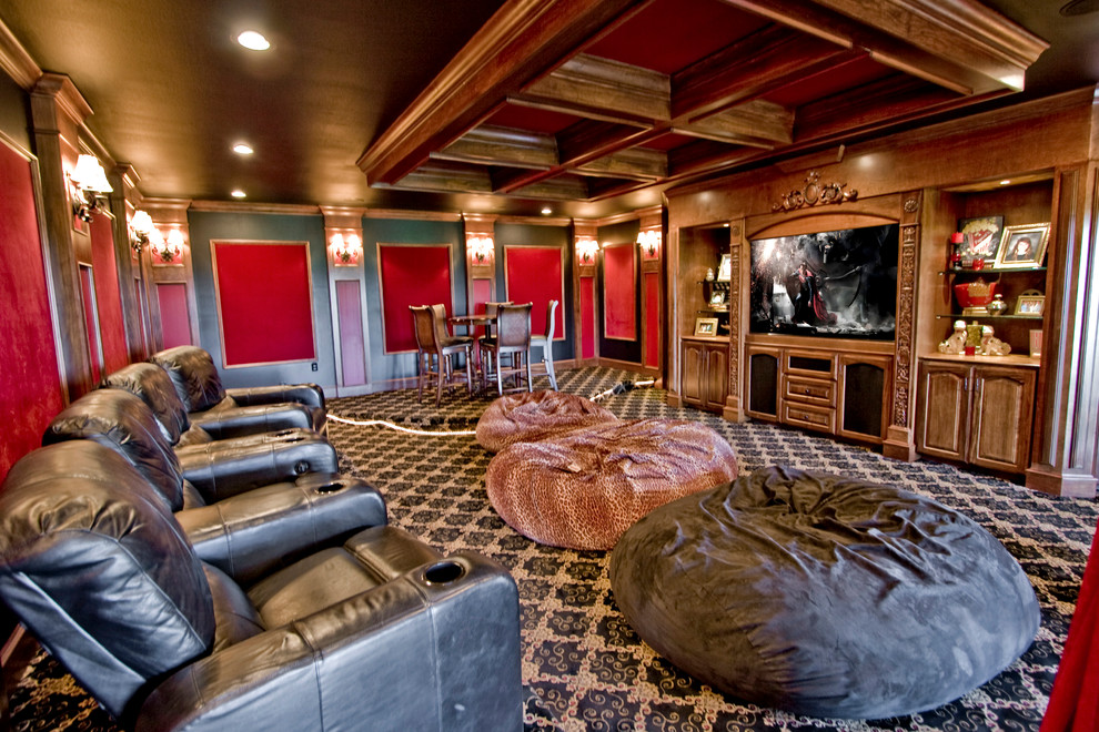 Giant Bean Bags Home Theater Traditional with Bean Bags Carpet Coffered Ceiling Leather Movie Chairs