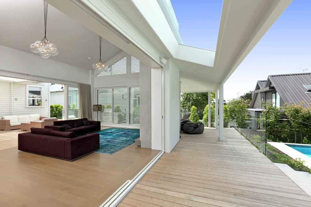 Giant Bean Bags Porch Contemporary with Canopy Chandelier Deck Glass Guardrail Glass Railing Great Room Open Floor Plan