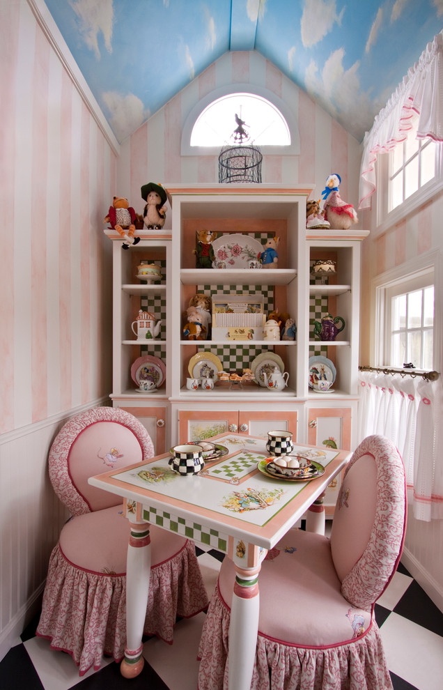 Girls Comforter Sets Kids Traditional with Arched Window Cafe Curtains Childrens Furniture Faux Painting Faux Sky Hand Painted