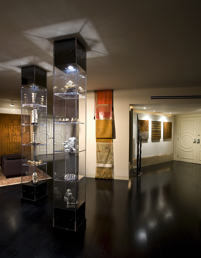 glass curio cabinets Entry Asian with Art black wood ceiling lighting display cases foyer front door miami painted