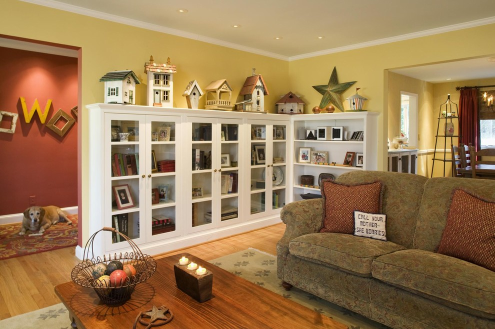 Glass Door Bookcase Living Room Eclectic with Barn Star Birdhouse Bookshelves Built in Shelves Cabinets Country Dog Frames Funny Pillow