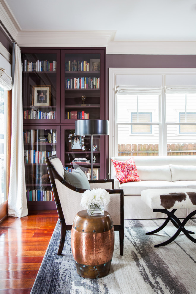 glass door bookcase Living Room Transitional with airy beige chair book cabinets book storage built-in bookcase built-in bookshelf Copper