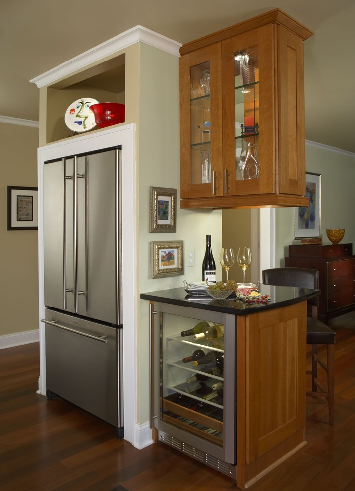 Glass Door Mini Fridge Kitchen Contemporary with Baker Furniture Cherry Counter Family Room Granite Kitchen Renovation Room Divider Stainless