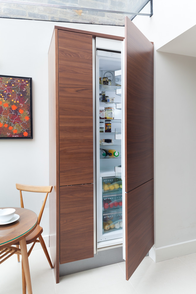 Glass Door Mini Fridge Kitchen Contemporary with Baseboard Flat Panel Cabinets Glass Ceiling Integrated Refrigerator Interior Design Details Walnut