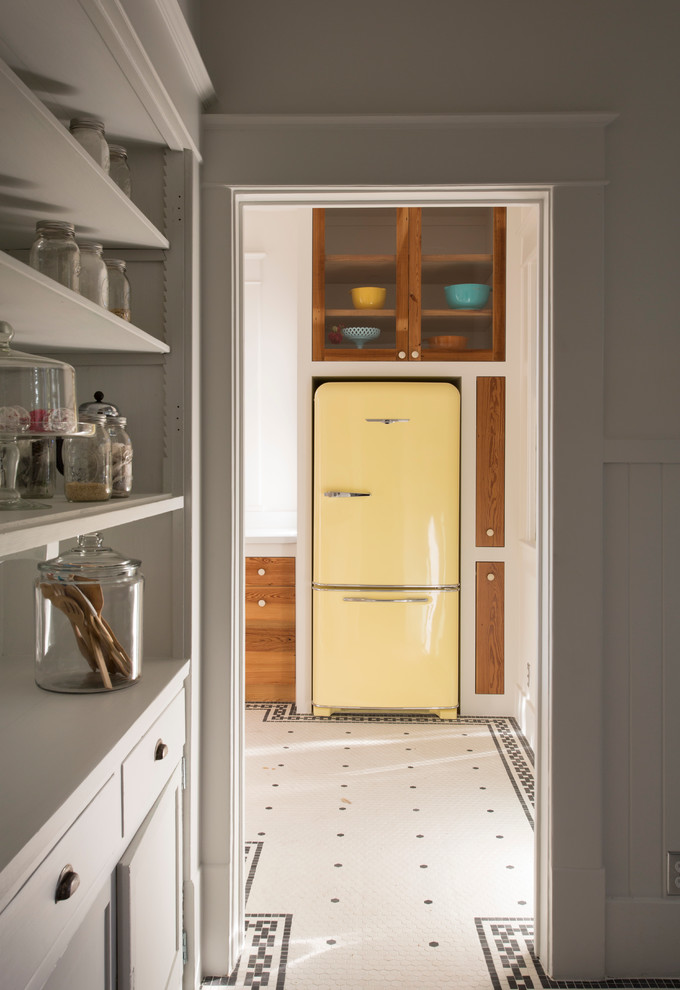 Glass Door Mini Fridge Kitchen Eclectic with Apothecary Jar Black and White Floor Glass Front Cabints Light Yellow Fridge