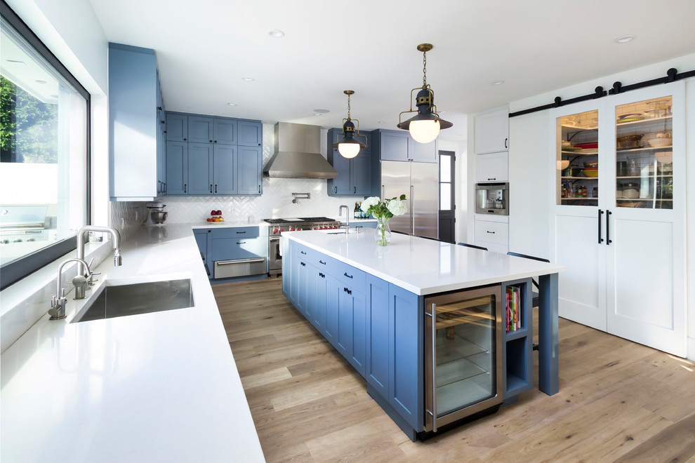 Glass Door Mini Fridge Kitchen Transitional with Barn Doors Beverage Center Black Knobs Blue and White Blue Kitchen Cabinets