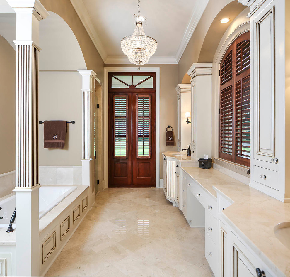 glass drawer knobs Bathroom Traditional with antique white cabinets arched ceilings black sink faucet built in cabinets candlestick
