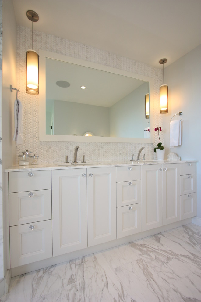 Glass Drawer Knobs Bathroom Traditional with Bathroom Sconce Carrera Clean Freestanding Tub Glass Herringbone Marble Sconce Shaker Shower