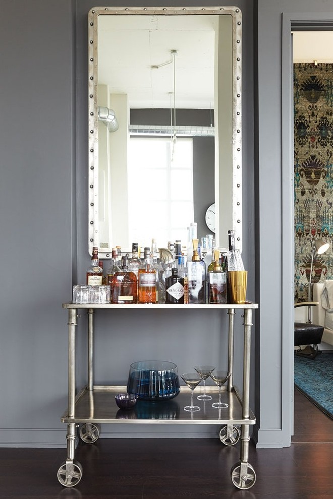 Glass Drink Dispenser Wine Cellar Industrial with Bar Cart Condo Drinks Cabinet Drinks Cart Drinks Trolley Framed Mirror Home