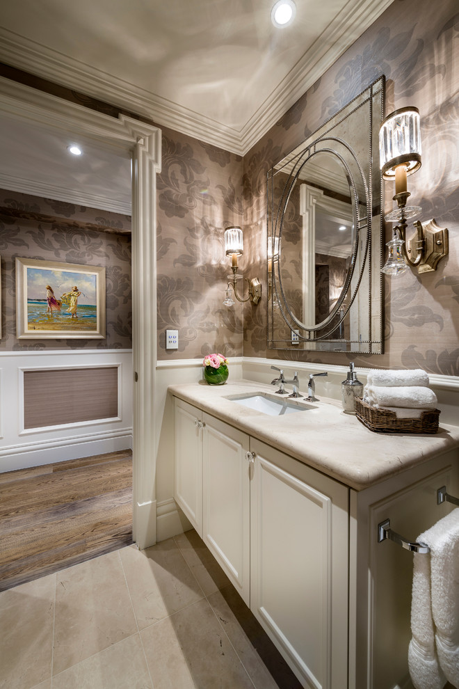 Glass Knobs and Pulls Bathroom Traditional with Bathroom Bathroom Floor Bathroom Flooring Crown Molding Fancy Bathroom Mirror Floral Wallpaper