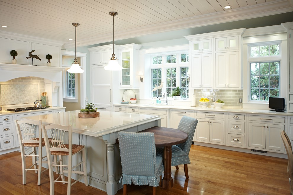glass knobs and pulls Kitchen Traditional with beadboard ceiling beige counter stool blue slipcovered chair cooktop eat-in kitchen glass