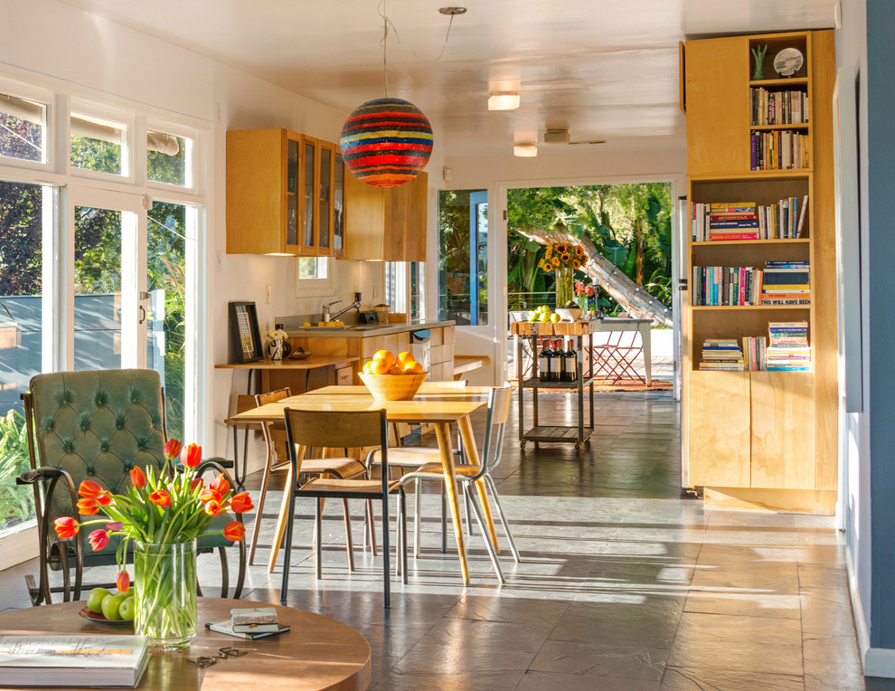 Glass Mosaic Tile Backsplash Kitchen Midcentury with Built in Bookshelves Built in Storage Carport Kitchen and Living Area Kitchen Dining