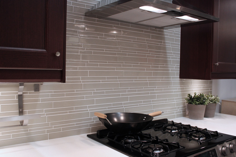 Glass Mosaic Tile Backsplash Kitchen Modern with Glass Mosaic Tiles Glass Tile Backsplash Gray Backsplash Kitchen Backsplash Linear Glass