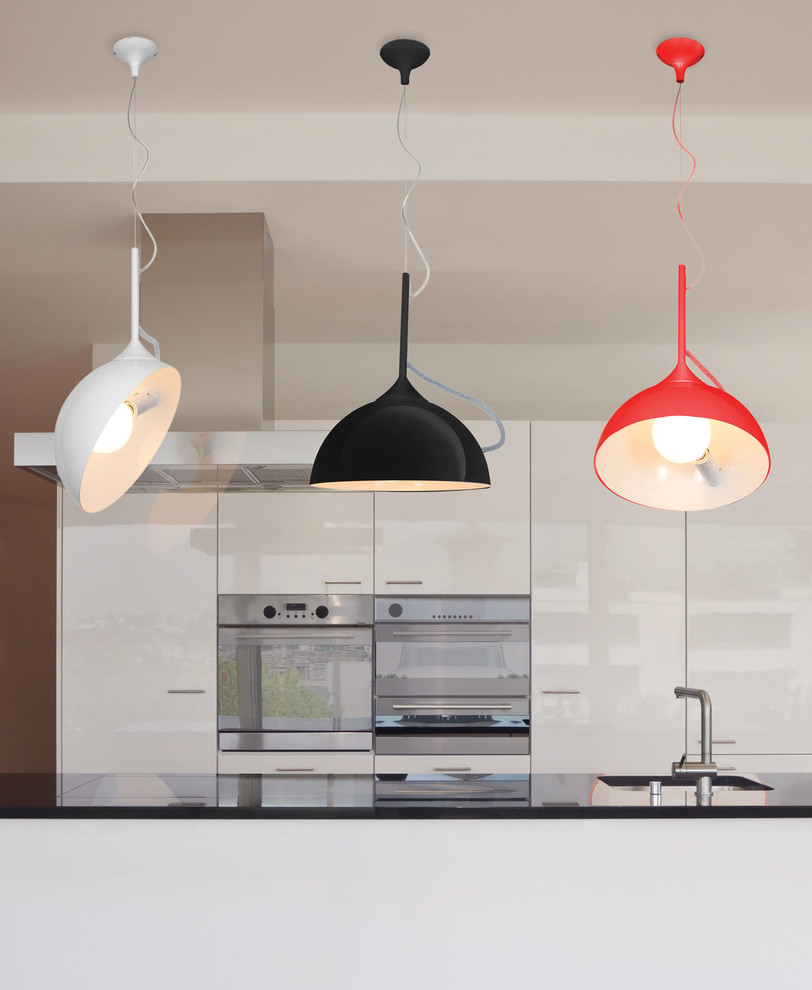 Glass Subway Tile Backsplash Kitchen Contemporary with Adjustable Black Pendants Contemporary European Contemporary Magnetic Adjustment One Light Primary Colors