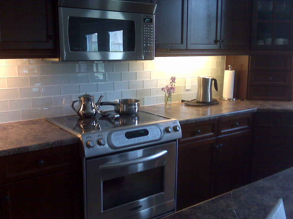 Glass Subway Tile Backsplash Kitchen Modern with None
