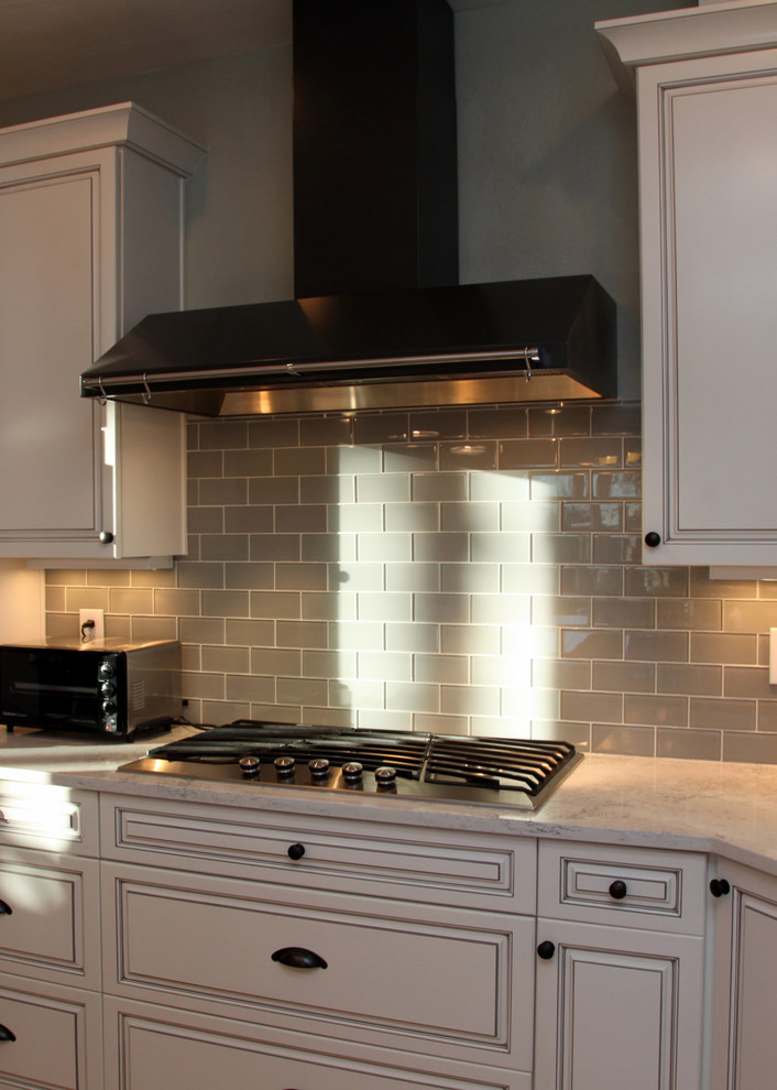 Glass Subway Tile Backsplash Kitchen Traditional with None
