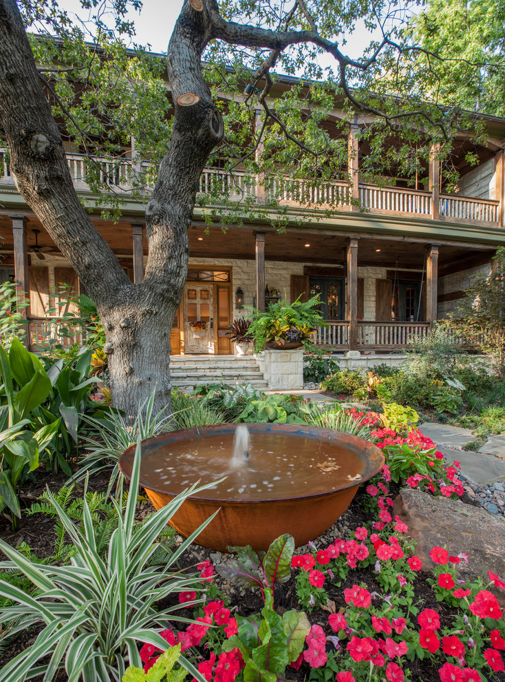 Glass Tea Kettle Landscape Rustic with Barn Shutters Copper Copper Fountain Deck Double Decker Porch Eclectic Entry Sequence Flowers