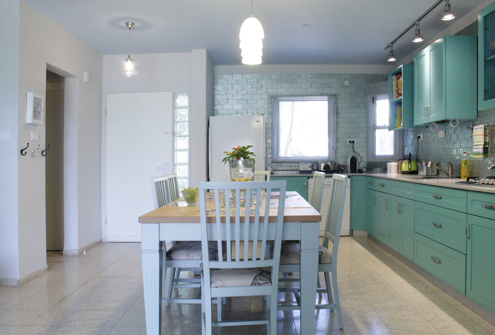 Glass Tile Backsplash Kitchen Contemporary with My Houzz