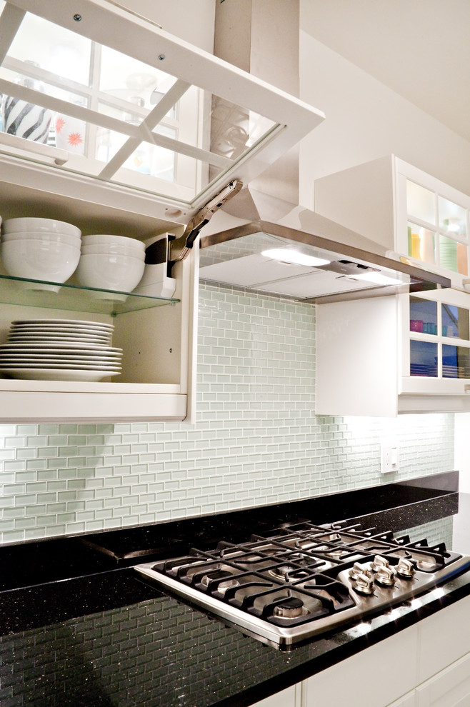 Glass Tile Backsplash Kitchen Contemporary with None