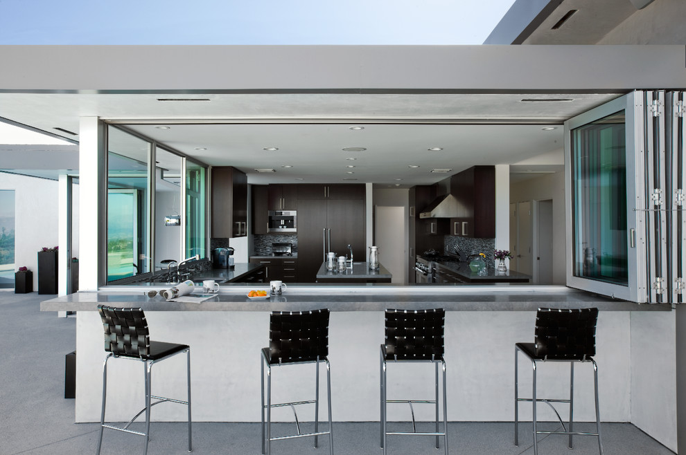 Glass Tile Backsplash Kitchen Modern with Accordion Doors Back Yard Bar Stool Black Bar Stool Contemporary Dark Cabinets