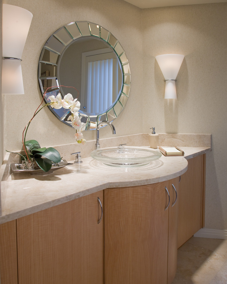 Glass Vessel Sinks Bathroom Contemporary with Beveled Mirror Curve Custom Cabinet Glass Sink Light Wood Mirror Neutrals Orchid
