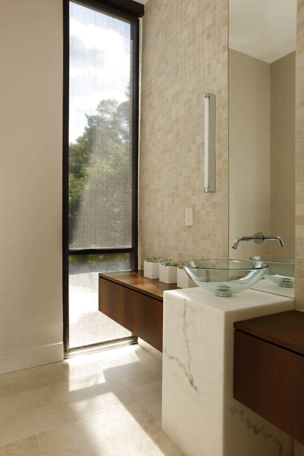 glass vessel sinks Bathroom with none