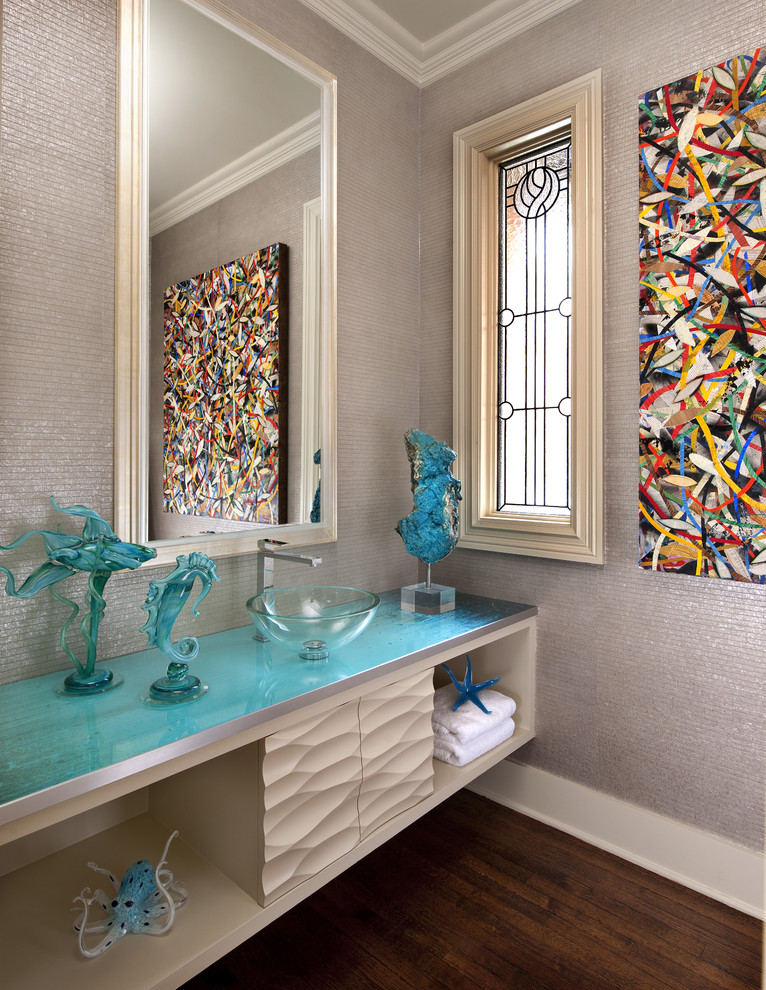 Glass Vessel Sinks Powder Room Contemporary with Above Counter Sink Abstract Art Acrylic Acrylic Framed Mirror Art Photography Award