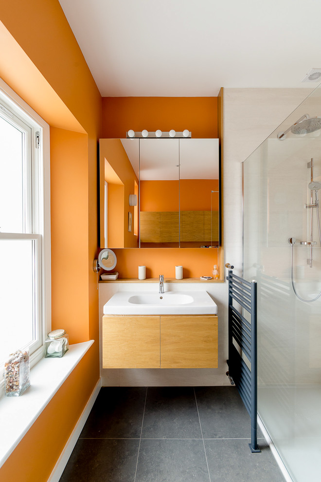 glass water dispenser Bathroom Contemporary with bathroom bright orange contemporary extension furniture Glazed extension kitchen orange Orange Bathroom