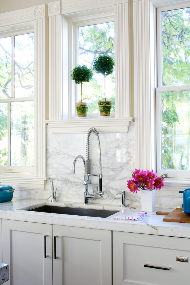 Glass Water Dispenser Kitchen Traditional with Apron Window Trim Bullseye Corner Blocks Double Hung Windows Flowers Frame And