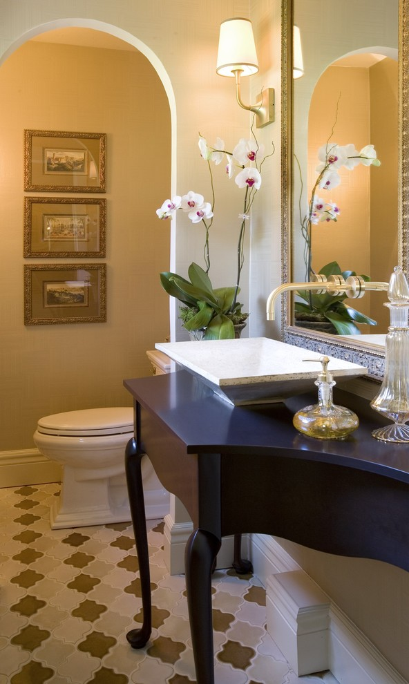 Glass Water Dispenser Powder Room Eclectic with Baker Scones Custom Designed Vanity Gold Tones Morracan Style Tile Morrocan Tile