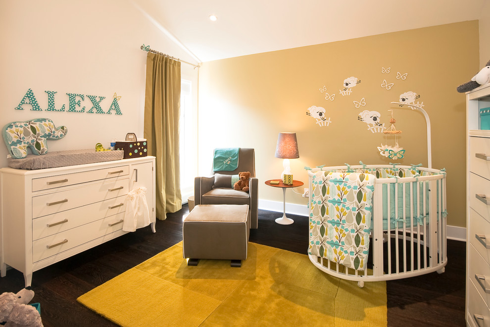 Glider and Ottoman Nursery Contemporary with Baby Room Bar Pulls Circular Crib Counting Sheep Mural Dark Stained Wood
