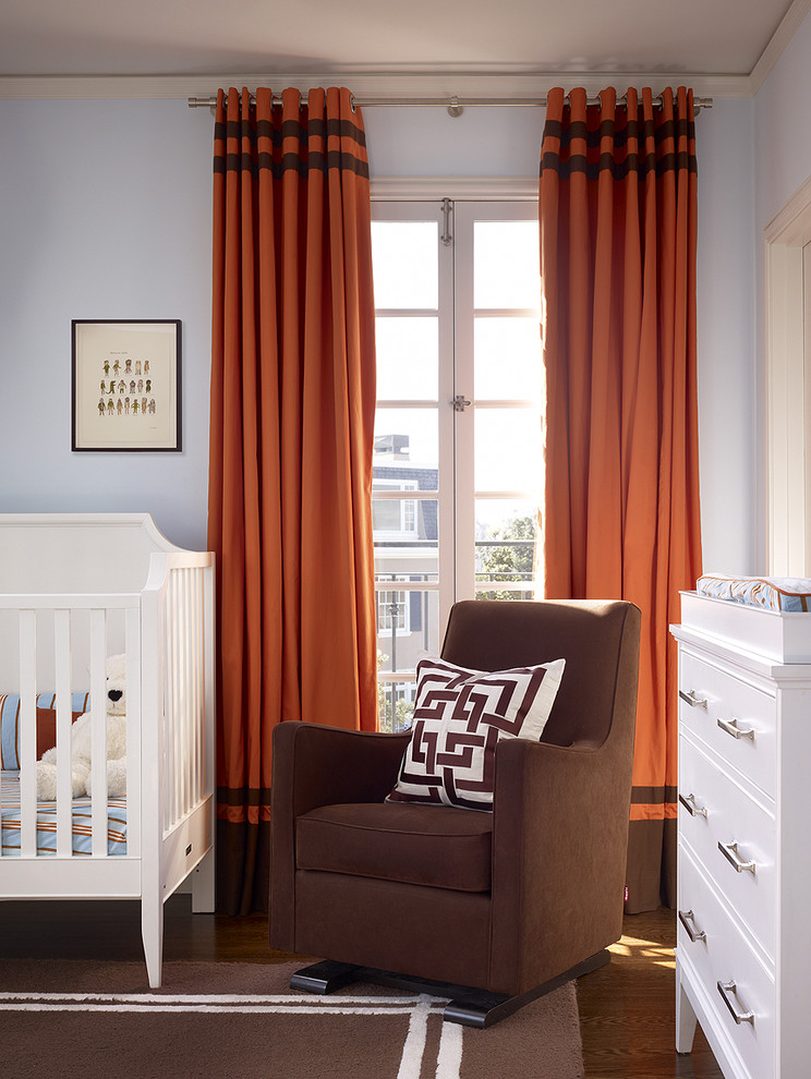 Glider Chair Nursery Contemporary with Area Rug Blue and Brown Changing Table Chest of Drawers Curtains Dark
