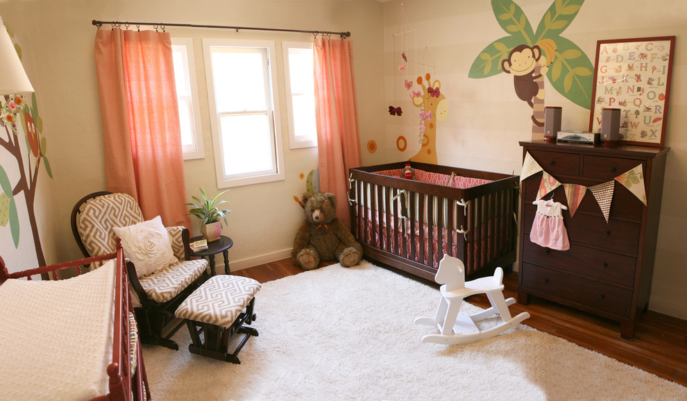 Glider Chair Nursery Contemporary with Area Rug Bunting Chest of Drawers Curtains Dark Wood Bedroom Furniture Drapes