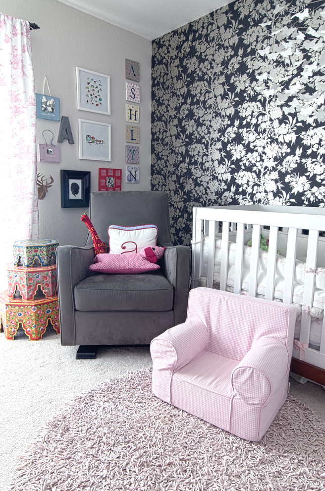 Glider Chair Nursery Shabby Chic with Accent Wall Floral Wallpaper Gallery Wall Glider Kids Furniture Modern Crib Monogram