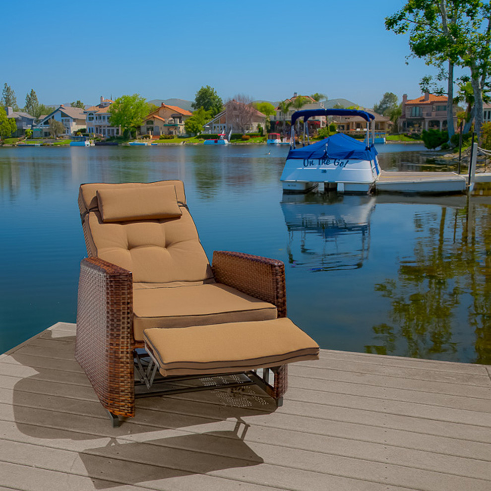 Glider Recliner Deck Modern with Armchair Outdoor Patio Furniture Wicker Glider Recliner 1