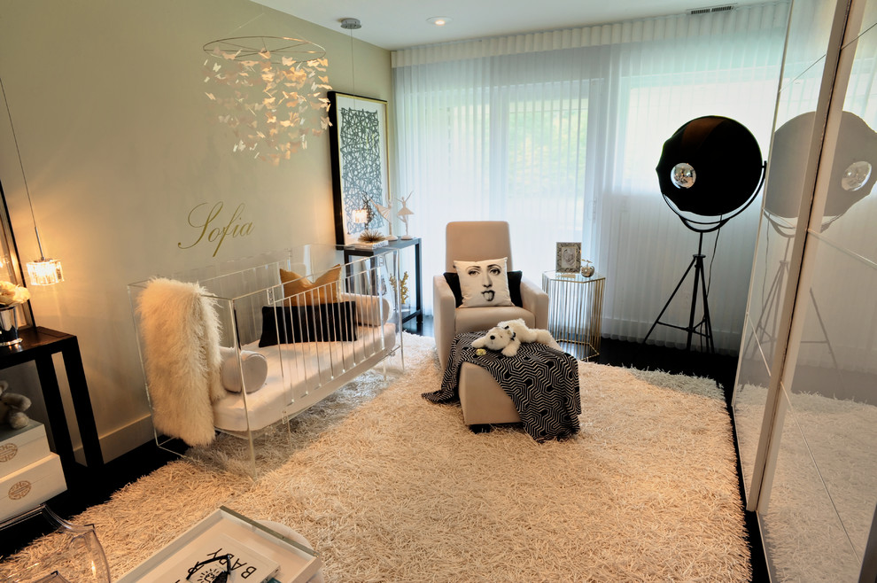 Glider Recliner Nursery Contemporary with Black and White Black Oak Blinds Butterfly Mobile Chiasso Rug Childrens Room