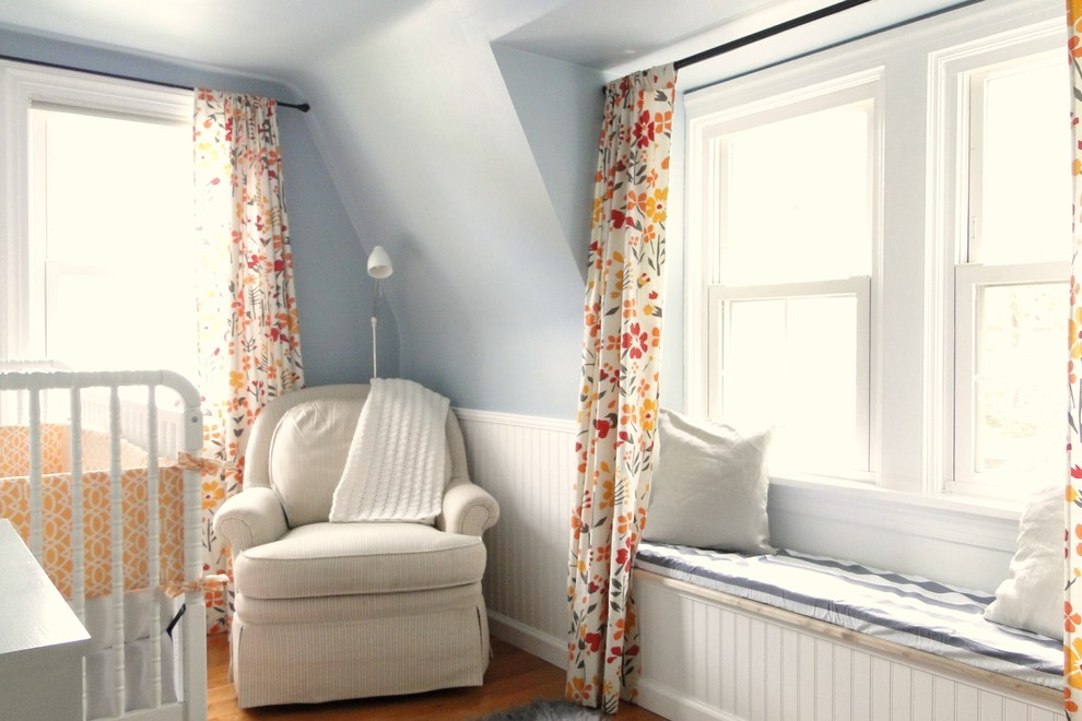 Gliders for Nursery Nursery Contemporary with Armchair Beadboard Blue Walls Built in Seating Double Hung Windows Drapes Floral